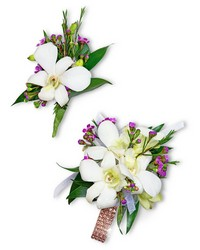 Flawless Corsage and Boutonniere Set from Brennan's Secaucus Meadowlands Florist