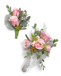 Glossy Corsage and Boutonniere Set from Brennan's Secaucus Meadowlands Florist