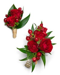 Crimson Corsage and Boutonniere Set from Brennan's Secaucus Meadowlands Florist