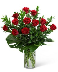 Red Roses with Modern Foliage (12) from Brennan's Secaucus Meadowlands Florist