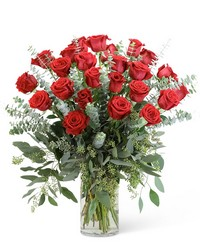 Red Roses with Eucalyptus Foliage (24) from Brennan's Secaucus Meadowlands Florist
