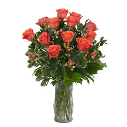Orange Roses and Berries Vase from Brennan's Secaucus Meadowlands Florist