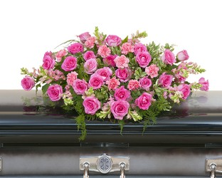 Peaceful Pink Casket Spray from Brennan's Secaucus Meadowlands Florist